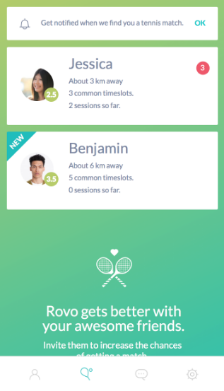 Rovo - Find Tennis players nearby Play tab