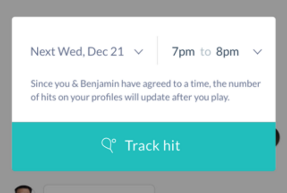 Tennis Timing suggestion popup