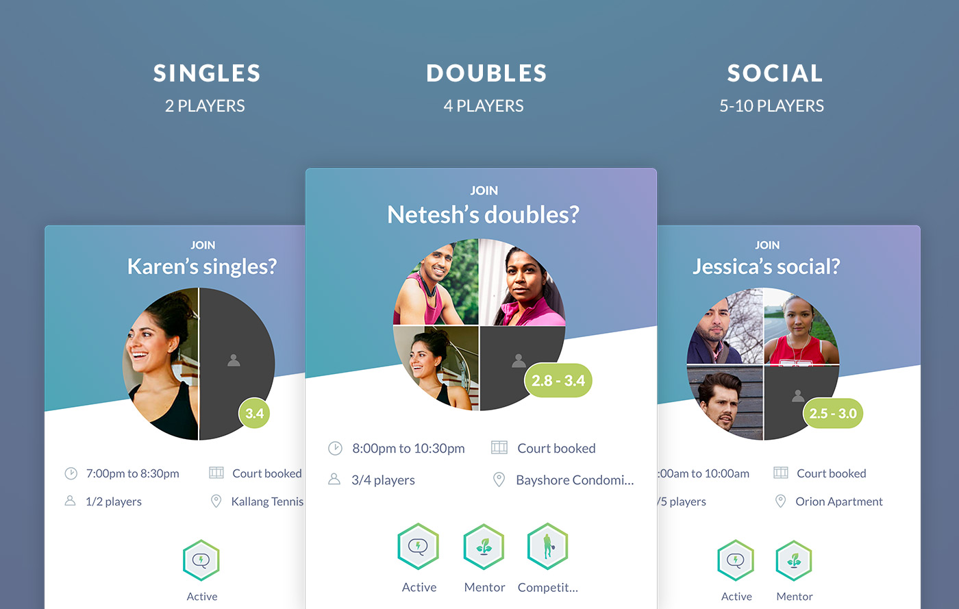 Doubles & Social Tennis on Rovo App 2