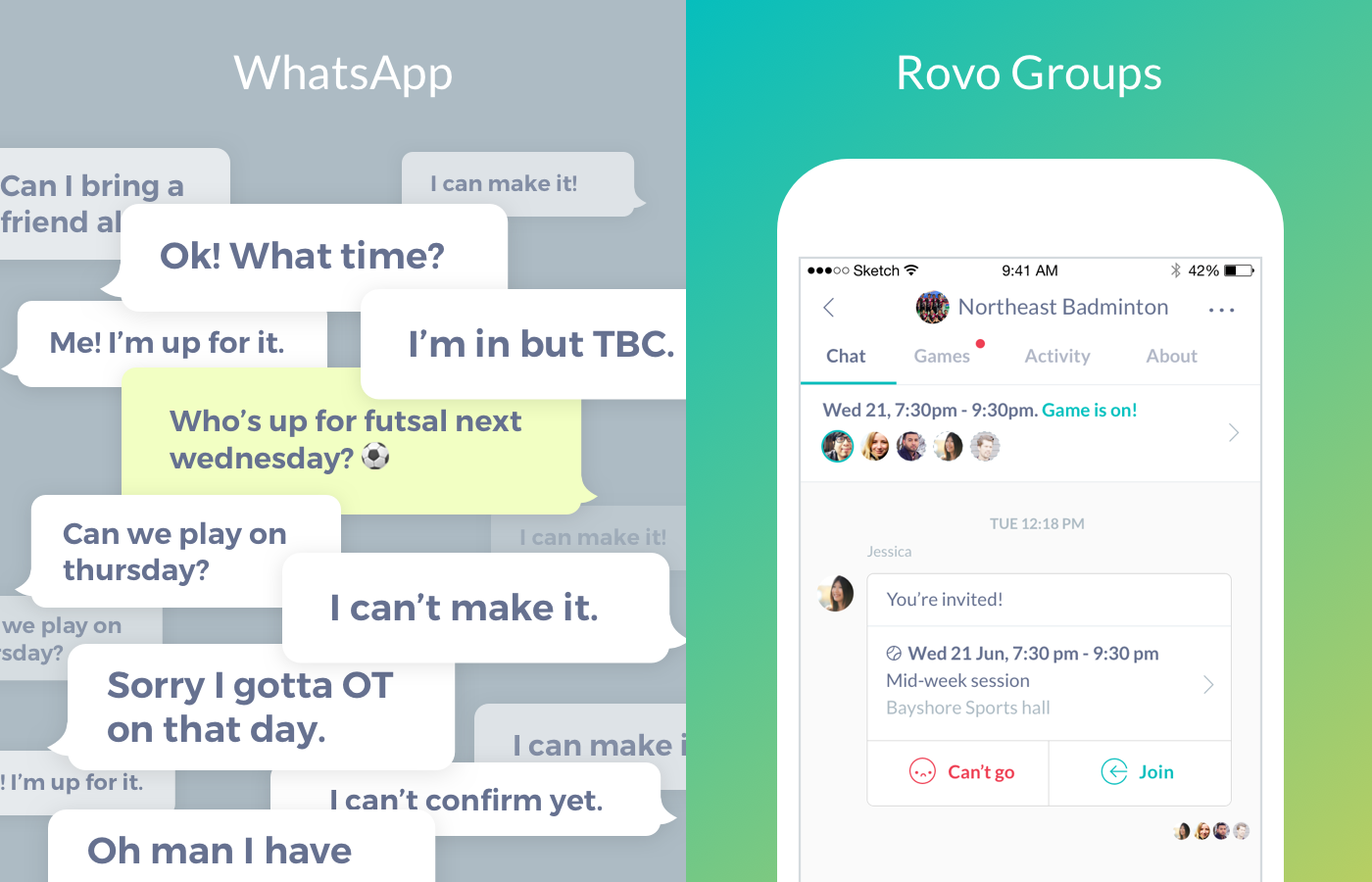 Stop using Whatsapp for Sports - Rovo Groups