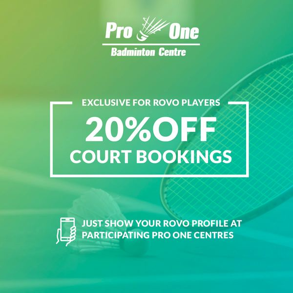 Rovo Exclusive - 20% off promotion at Pro One!